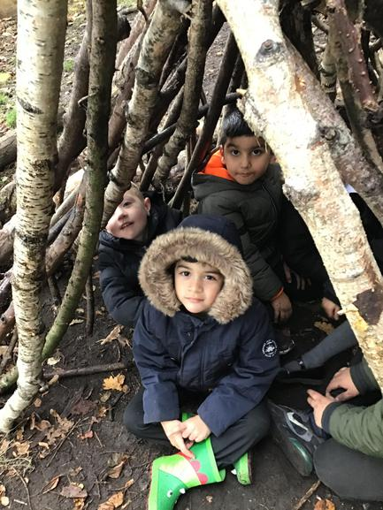 We made a den out of sticks - hope the wolf does not blow it down