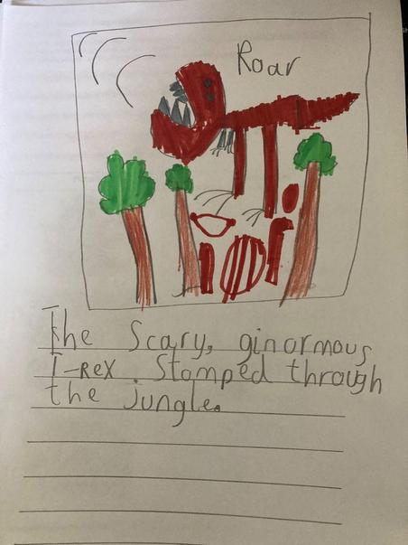 I love Jacob's noun phrase about a dinosaur.