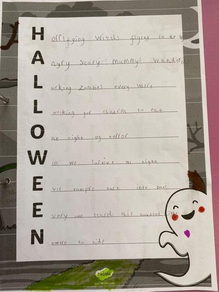 Alexia's Halloween acrostic.