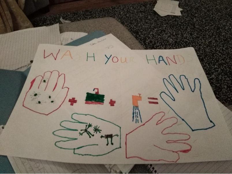 Luke's informative hand washing poster.