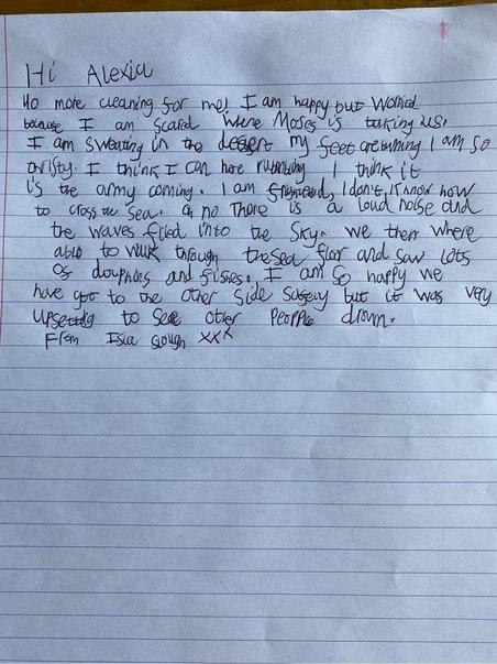 Isla's letter to Alexia saying how happy she is to be free (RE lesson).