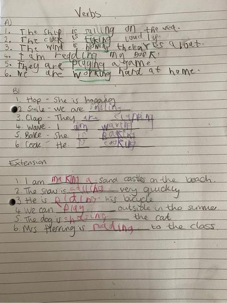 Callum has been busy working on verbs.