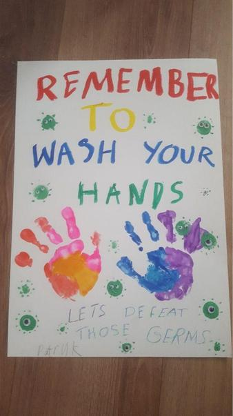 Patryk's fantastic hand washing poster. I love the bright colours and clear message.