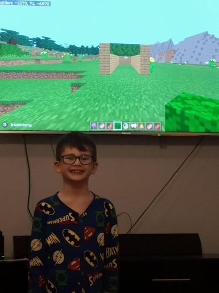 Harrison made his Sukkah on Mine craft - very inventive!