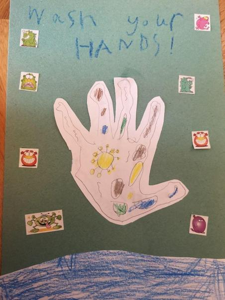 Harrison's hand washing poster - I love the 'germ' stickers!