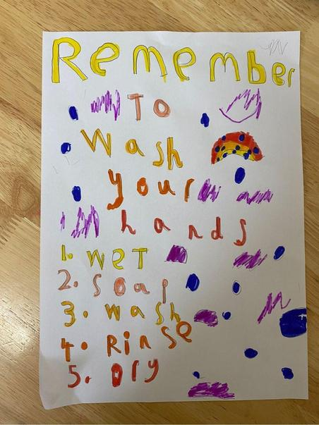 Alexia's bright and informative hand washing poster.
