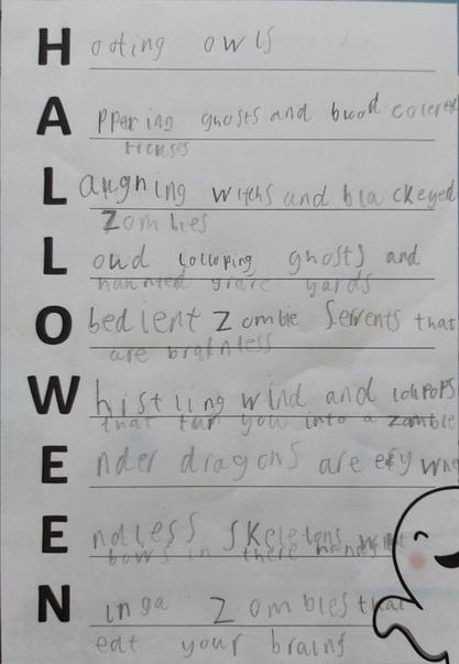 Thomas' Halloween poem using LOTS of adjectives.