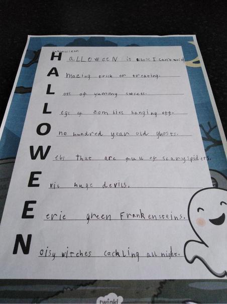 Luke's Halloween acrostic poem.