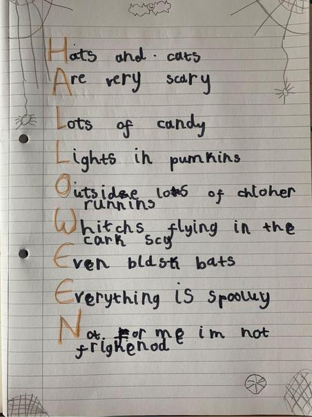 Ava's Halloween acrostic poem.