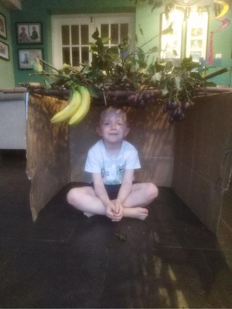 Luke made his Sukkah with his Dad.
