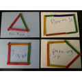 Vinnie used lolly sticks and glue to make 2d shapes
