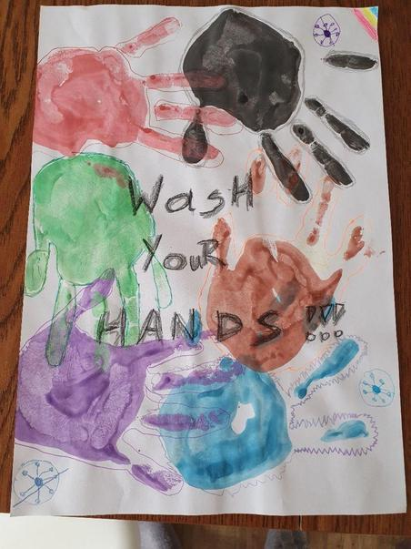 Tosia's bright and colourful hand washing poster
