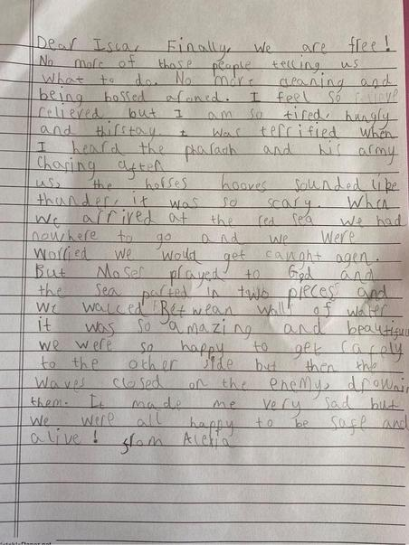 Alexia's fantastic letter, using lots of powerful adjectives.