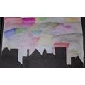 Art - Sunset cityscape.