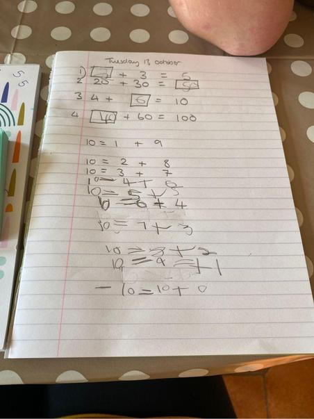 George R has worked hard on number bonds to 10