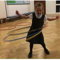 Amazing hula hoop skills!