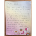 Freya wrote a letter to her penfriend.