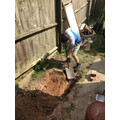 Alfie made a trench in his garden