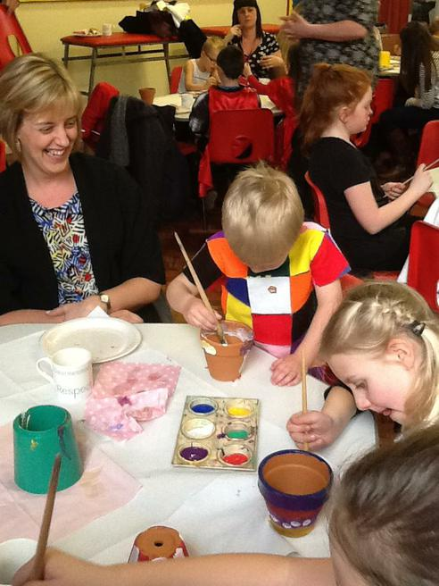 Painting pots with our Mummy's