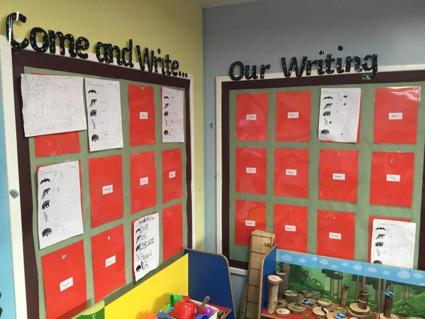 Our writing wall , filling up