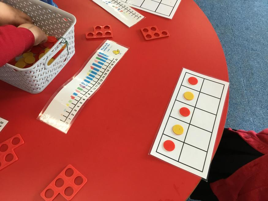 Using the ten frame to make 5