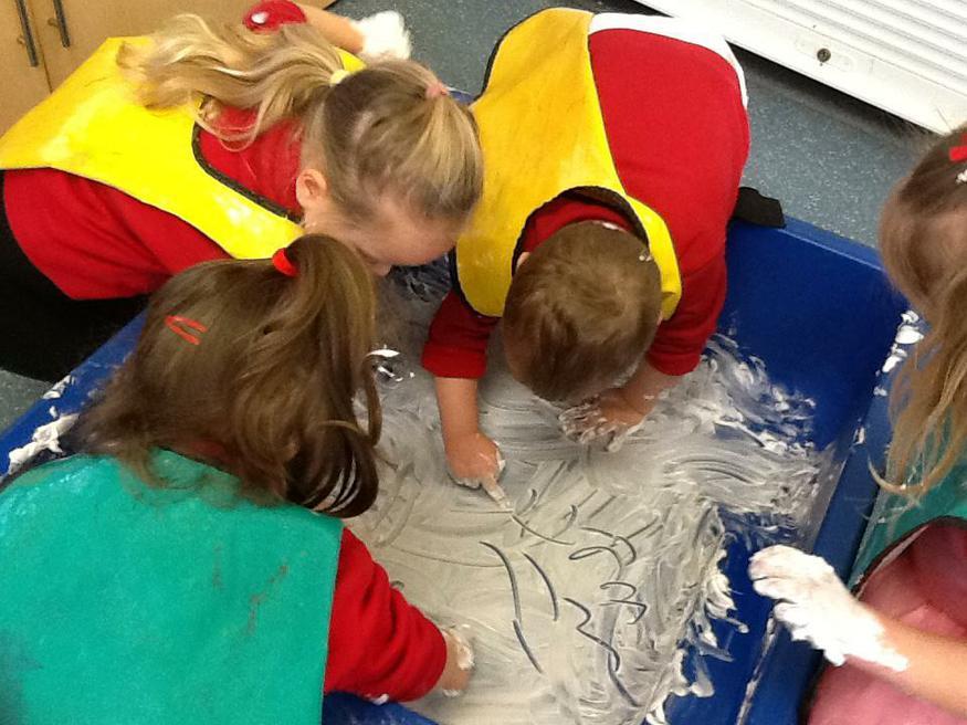 Mark making in shaving foam!