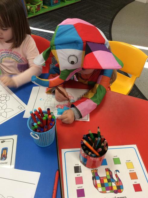 Elmer's busy colouring!
