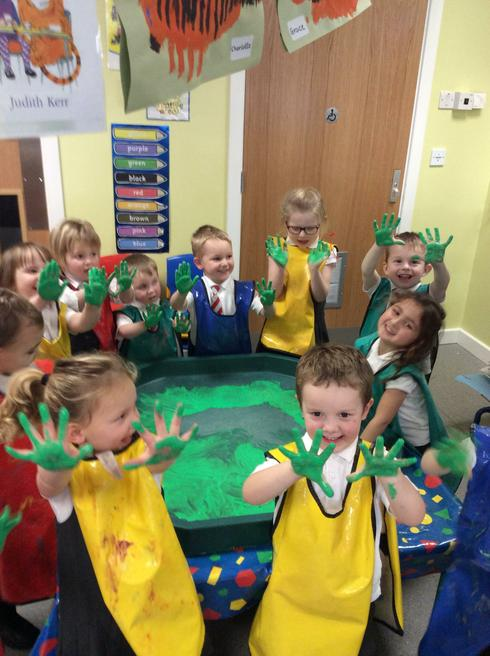 We made hand prints to create our Christmas Tree!