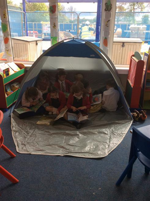 The reading tent is full!!!