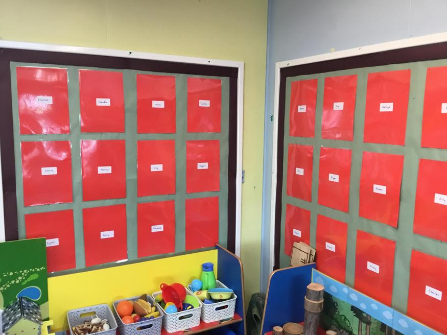 The wrtitng wall, ready for their work!