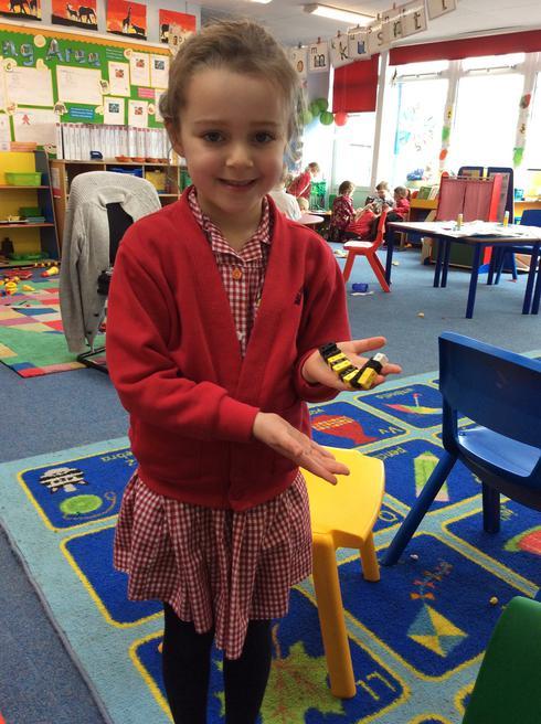 Mia made a buzzing bee.