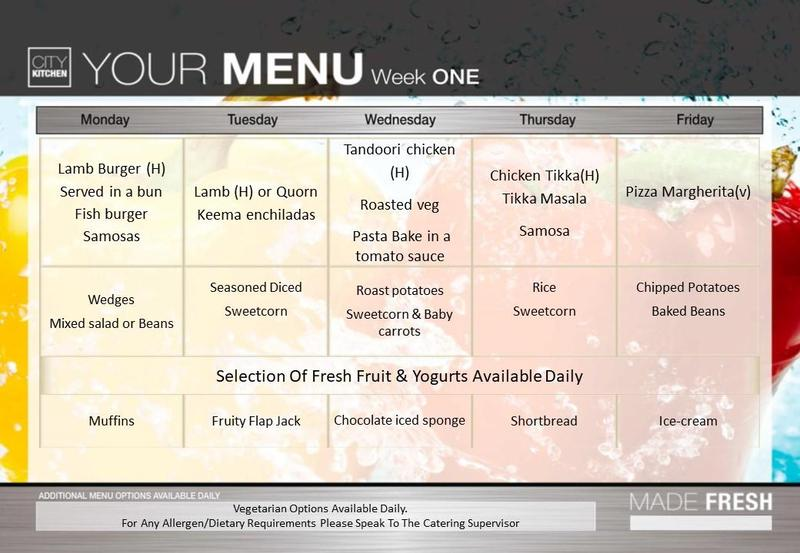 Week One Menu