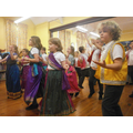 Everyone joined in an Indian dance workshop.