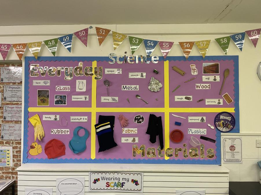 Have a look at our new class display for our new topic Everyday Materials!