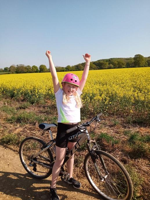 EB completes her cycling challenge - star!