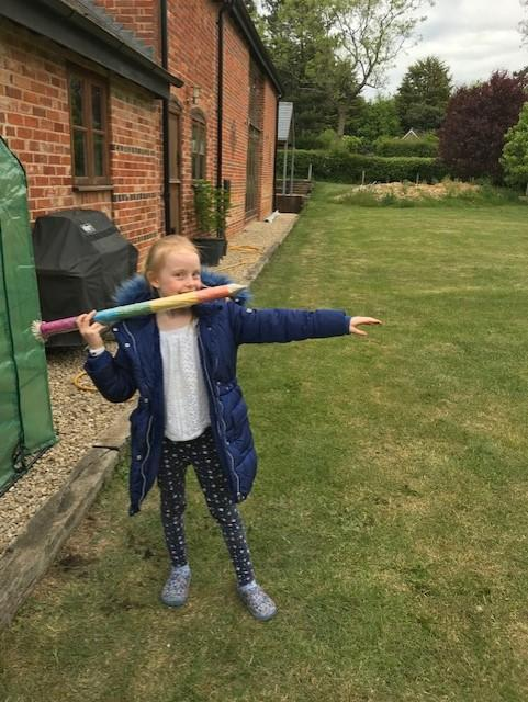 WR with her homemade javelin