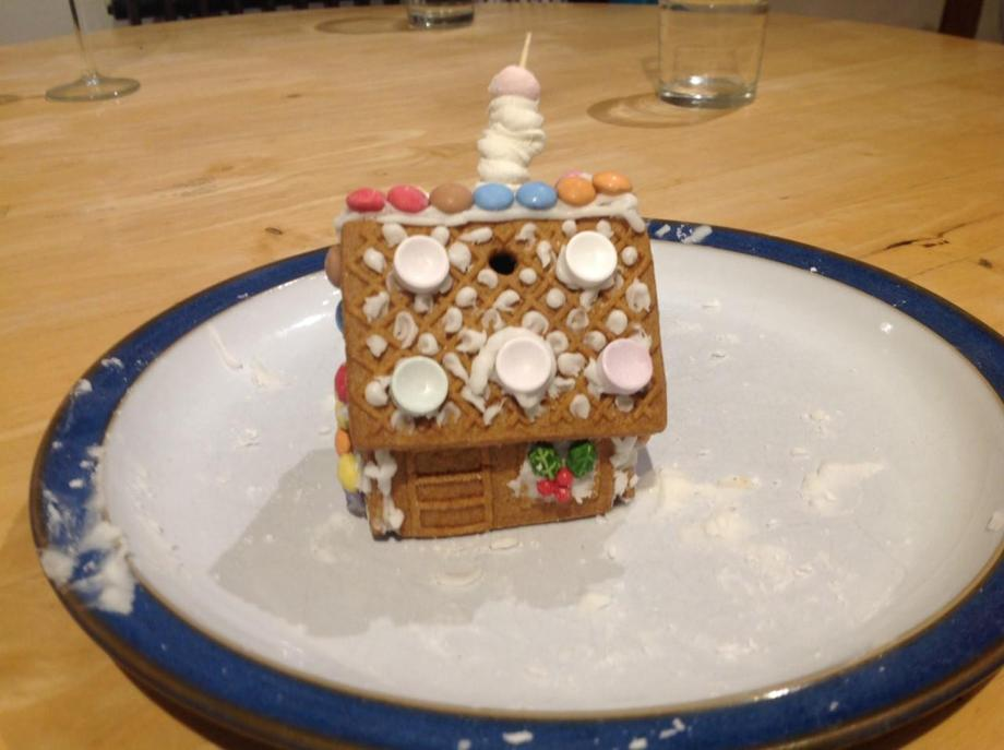 EB's been busy creating a gingerbread house
