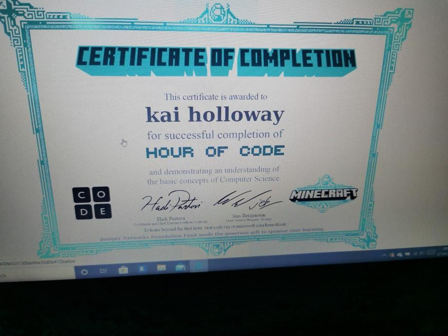 Hour of code achieved by KH