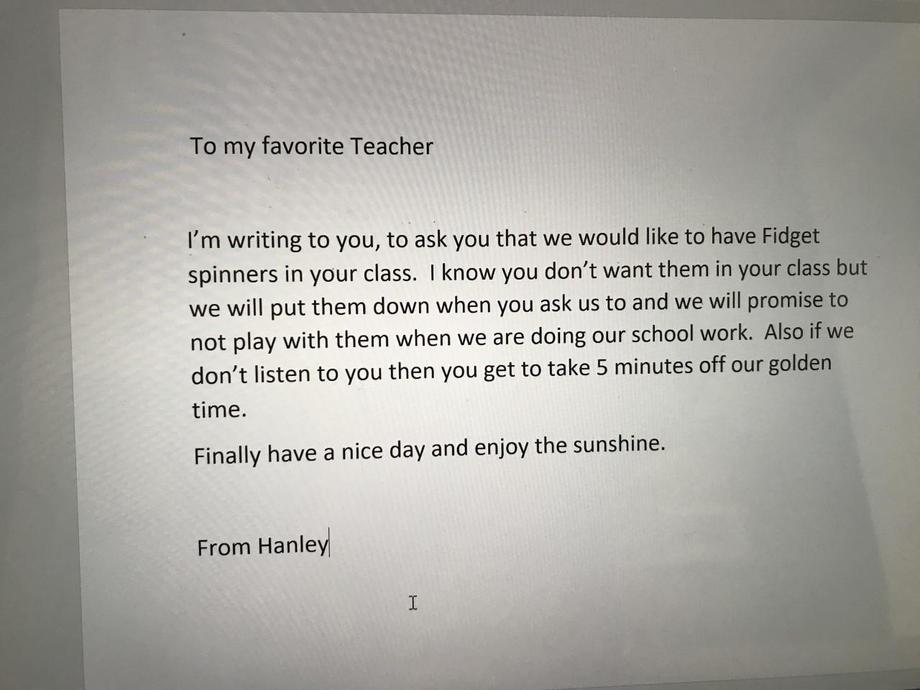 HW's very convincing fidget spinner letter