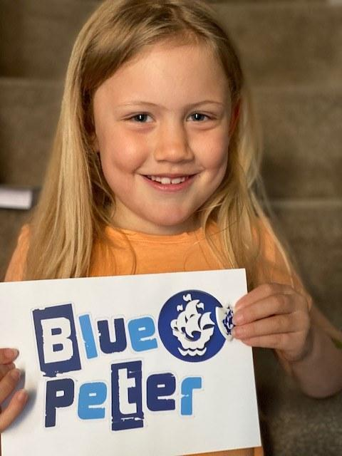 Freya with her Blue Peter Badge