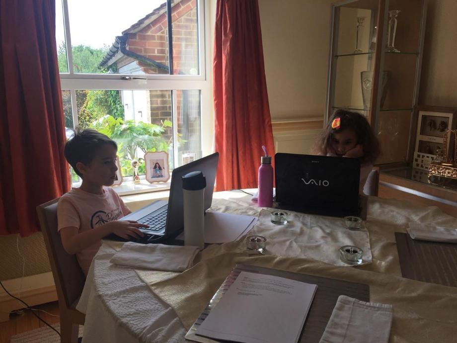 working very hard