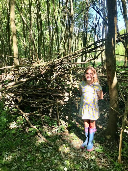 AL doing some forest school den building