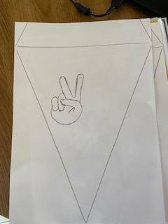 WR drawing VE Day bunting