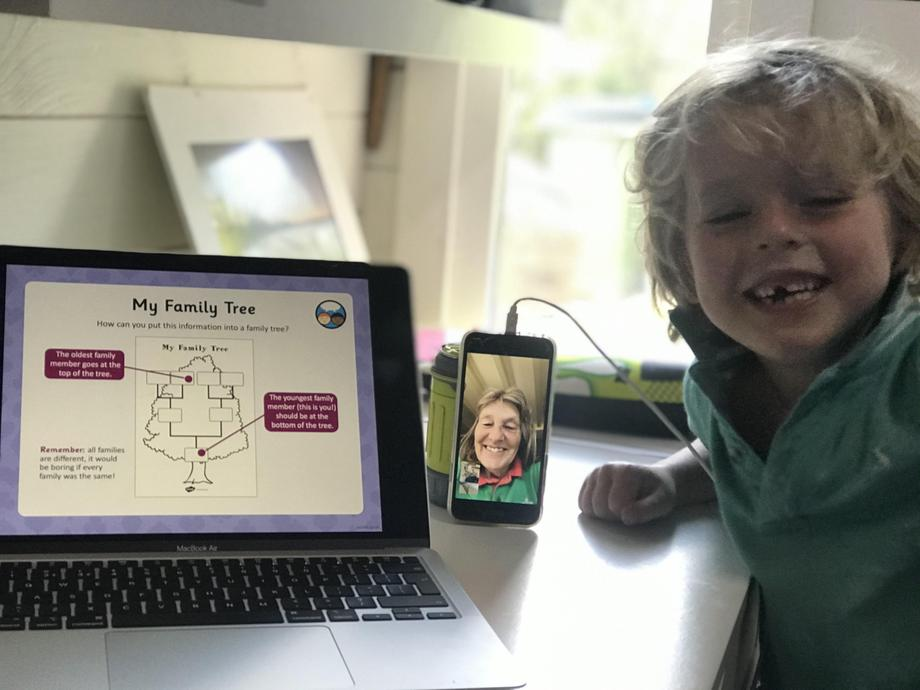 Eddie enjoying a FaceTime call with Granny