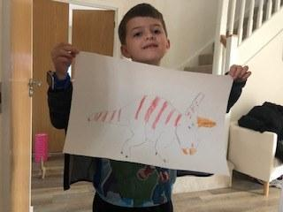 Lucas with his great triceratops picture