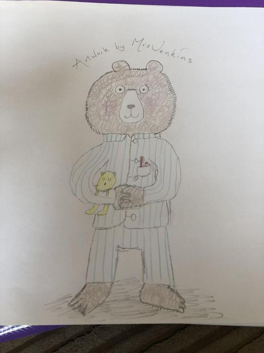 Mrs Jenkins' bear in pyjamas