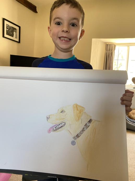 Luca with his fantastic drawing of Indie