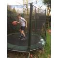 OP's new sport - trampoline basketball - fab!