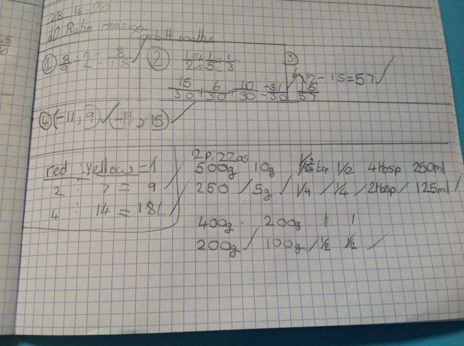 EB ratio work - well done!