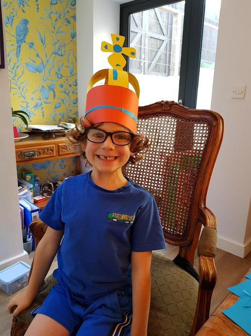 Luca with his homemade crown